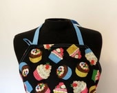Full Apron - Cupcakes - with pocket and long, blue ties