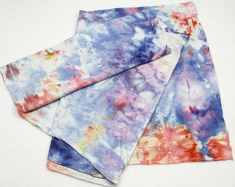 Periwinkle Persimmon Ice Dyed Jersey Scarf Pink Blue Hand Dyed Tee Shirt Scarf - PinkandBlue1