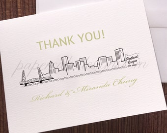 PORTLAND City Skyline Wedding / Digital Design Download / graphic Illustration cityscape