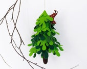 Christmas tree , Green Tree with owl,Ornament to hang,Miniature felt fir tree,Christmas decorations