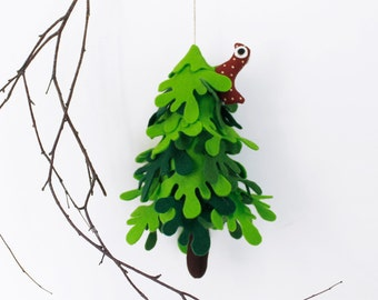 Fir tree, Green Felt Tree with red  bird, Nursery decor, Miniature Decorative gift, Felt ornament,