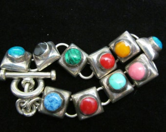 Vintage Antique Sterling Silver 925 and Semi Precious Stones Bracelet AF 86