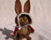 Christmas Bunny Needle Felted Wool, Soft Sculpture, Hand Knitted Alpaca Red Cape with White Trim, Soft Sculpture Needle Felted Collectible