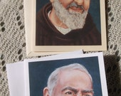 Saint Padre Pio Stationary Card, White and Ivory Card Stock with Envelope Image taken from my Original Acrylic Painting, Catholic Art