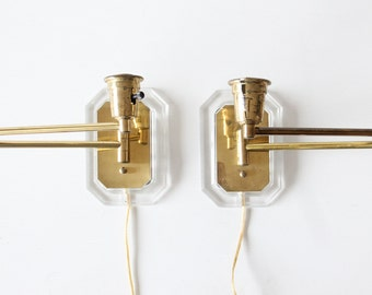 Pair of Modern Swing-Arm Brass & Lucite Sconces