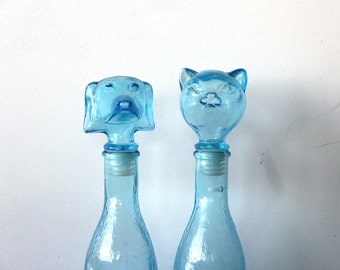 Italian Blue Glass Cat & Dog Decanters