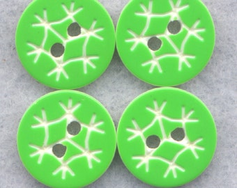 Green Snowflake Buttons Acrylic Lime Button 12 mm (1/2 inch) Set of 12/BT319B