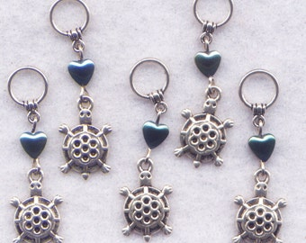 Turtle Knitting Stitch Markers Turtles Tortoise Box Snapping Painted  Charms Set of 5 /SM219