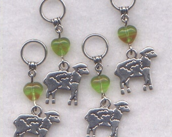 Sheep Knitting Stitch Markers Lambs Flock of Sheep Charm Set of 4/SM01A