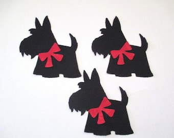 9 Scottie Dogs Iron On Appliques   Pick Size