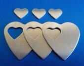 "Aluminum Heart Pendants - Qty 3, 1 1/4"", Bopper, Aluminum Heart Washers, Pendants, stamping blanks, metal stamping blanks, heart blanks"