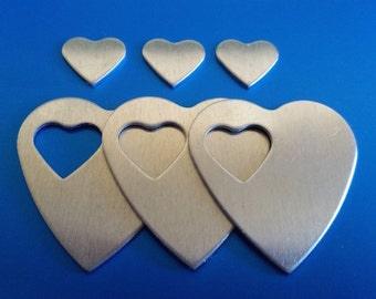 "Aluminum Heart Pendants - Qty 3, 1 1/4"", Bopper, Aluminum Heart Washers, Pendants, stamping blanks, metal stamping blanks, heart blanks"