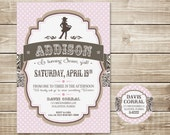 DIGITAL Pretty Little Cowgirl Invitation and Address Label - Pink Polka Dot, Brown Bandana, Linen, Country Chic