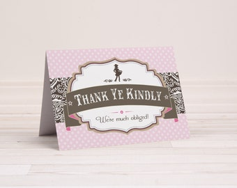 INSTANT DOWNLOAD (Digital) Pretty Cowgirl Thank You Note Card - Silhouette, Pink Polka Dot, Brown Bandana, Country Chic