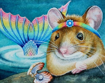 Fantasy Mermaid Mouse Shell Pearl Limited Edition ACEO Giclee Print reproduced from the Original Watercolor