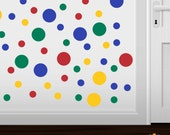 Set of 100 - Red / Blue / Green / Yellow Circlles Vinyl Wall Graphic Decals Stickers shapes polka dots round Primary Colors