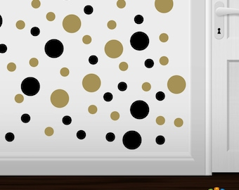 items similar to metallic gold and metallic silver polka dot wall decals circles vinyl stickers. Black Bedroom Furniture Sets. Home Design Ideas