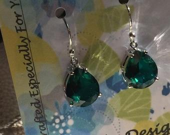 Sterling Emerald Green  December Birthstone Tear Drop Glass Silver Earrings