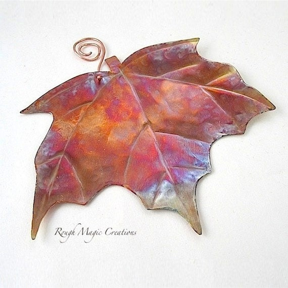 Maple Leaf Rustic Copper Metal Wall By Roughmagiccreations