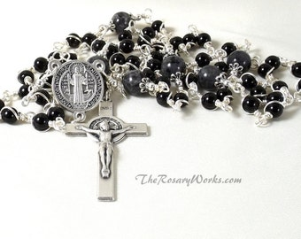 St. Benedict Rosary Black Onyx Labradorite Traditional Catholic 5 Decade Mens Wire Wrapped Unbreakable Prayer Beads