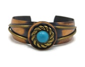 Brass and Copper Cuff Bracelet - Adjustable Modern Style, Faux Turquoise, Mixed Metals