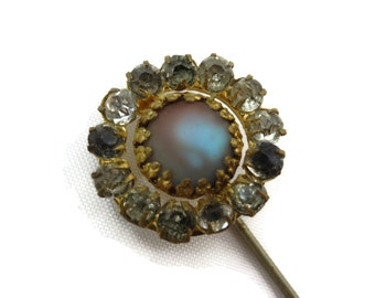 Victorian Hat Pin - Saphiret, Antique Paste Stones Hatpin,