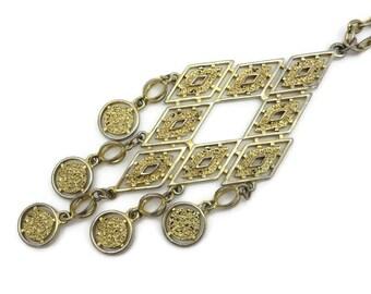 Vintage Tassel Necklace - Long Gold Boho, Fringe Necklace, Vintage Costume Jewelry 1970s