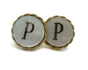 Initial P Cufflinks - Mother of Pearl, Mens Cuff Links