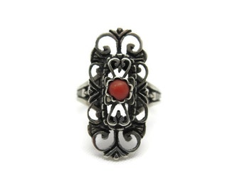Silver Coral Ring - Red Coral Cabochon 800 Silver Jewelry, Uncas, Statement Filigree Ring