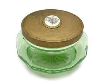 Vaseline Glass Vanity Jar - Vintage Green Uranium Depression Glass, Enamel Painted Pink Rose Lid