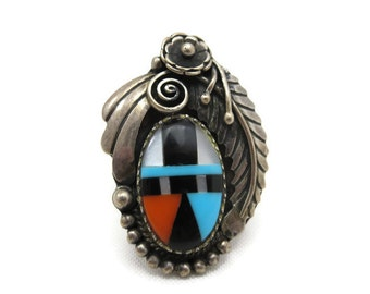 Sterling Silver Statement Ring - Zuni Style, Mexican, Inlaid