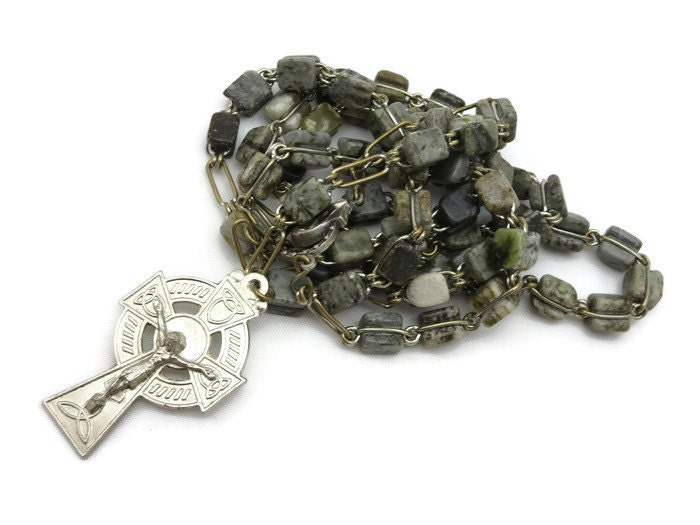 irish connemara marble jewelry vintage rosary by