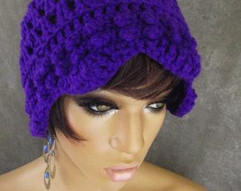 Purple Crochet Bucket Hat, Crochet Cloche, Women's accessories, Chemo Cap, Crochet Hat, Fall Hat
