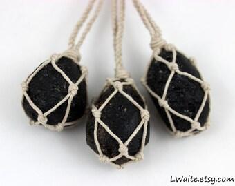 Tektite Hemp Wrapped Healing Crystal Necklace