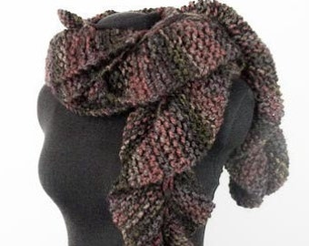 Jumbo Ruffle Scarf - Chunky Hand Knit Scarf in Harvest Colors - Item 1285