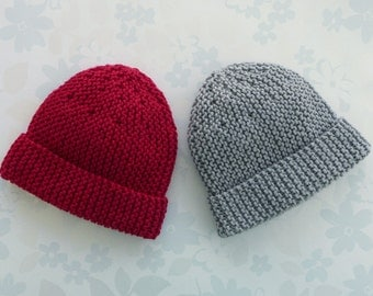 Two PREEMIE HATS for 2.5 to 5.5 lb baby (28 to 36 week gestation) - NICU Kangaroo Care - cotton / merino wool yarn in red and grey