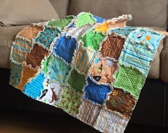 Rag Baby Quilt, Baby Blanket, Infant Size, Zoofari, Zoo Animals, Blue, Yellow, Monkeys