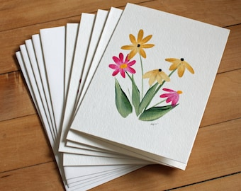 Set of 5 Daisy Greeting Cards, Handpainted, Handmade, Blank Greeting Card, Note Card, Art Card, Any Occasion, Birthday Card, Girl, Flower