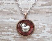 glitter apple necklace - perfect teacher gift - choose glitter color