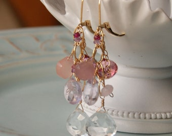 Blush Gemstone Earring, Semi Precious Jewelry, Pink Gemstones in 14K Gold Filled, Luxury Bridal Earrings, Gold Dangle, Chandelier, Wedding