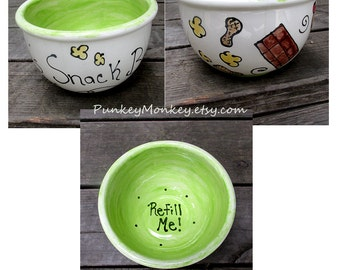 Custom snack bowl you design ice cream bowl popcorn bowl cereal bowl granola soup personalized kiln fired pottery bowls wedding father's day
