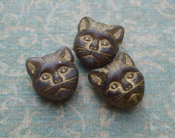 Vintage 12x11mm Czech Mauve Grey Antiqued Gold Pressed Glass 2-Sided Cat Beads with Vertical Hole (10 pieces)