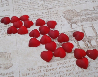 7mm Frosted Ruby Red Gold Foiled Flat Back Glass Heart Shaped Cabs or Stones (6 pieces)