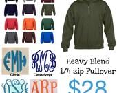 Monogrammed 1/4 zip pullover