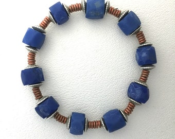 Bracelet Russian Blue Trade Beads and Silver 7 1/2 to 8 mm by Kate Drew-Wilkinson