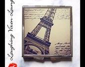 Pill Box - Paris Pillbox - Purse Accessories - Compact Mirror - Paris Gift Pill Case - Bag Mirror - Makeup Mirror - Vintage Paris Style-A