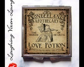 Love Potion Pill Box - Alice In Wonderland Compact Mirror - Magic Potion Label - Purse Mirror - Looking Glass Pill Case - Makeup Mirror