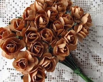 Paper Millinery Flowers 24 Petite Handmade Roses In Sandy Brown