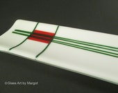 Skinny Tray Fused Glass Serving Tray White Red Green