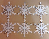 6 Snowflake Die Cuts Made With Anna Griffin Die 4 by 4.5 Inches White Cardstock